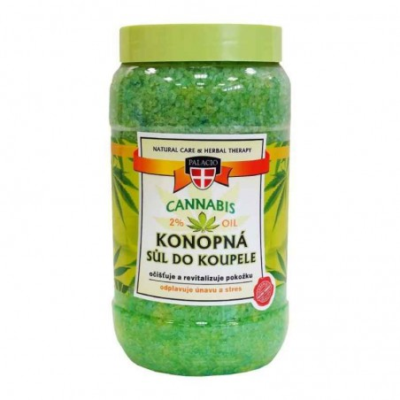 CANNABIS Bath Salt 2% Cannabis Olie (Badesalt med hampfrøolie) 1200g - PALACIO Herbal Cosmetics