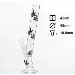 Sort Multi Leaf Bolt Glas bong H:42cm SG:18.8