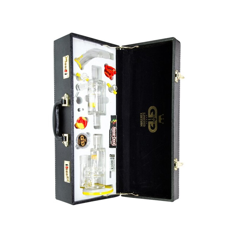 Grace Glass - Limited Edition Vapor Bong with Double Slit Diffuser Percs - Complete Set in Leather Gift Case - Yellow/Green